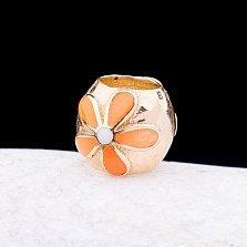 Золотой шарм Маргаритка с оранжевой и белой эмалью
