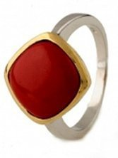 Серебряное кольцо Бертина с красным кораллом