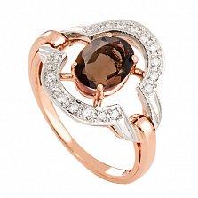 Золотое кольцо с раухтопазом и фианитами Азерра