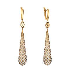 Золотые серьги-подвески Кальведе с узорами и белой эмалью в стиле Гуччи