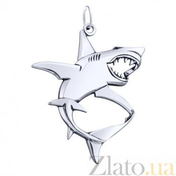 Серебряный родированный подвес Белая акула с чернением AUR--74602*