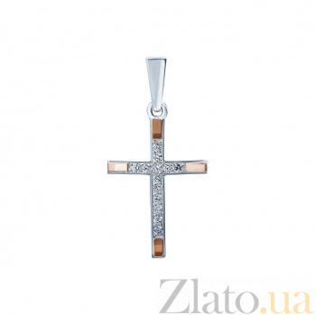 Серебряный крест с фианитами и вставками золота Преображение AQA--Хл-4