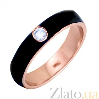 Золотое кольцо Пастель с фианитом и эмалью чёрного цвета К220кр/чёр