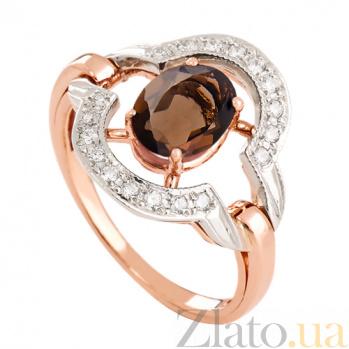 Золотое кольцо с раухтопазом и фианитами Азерра VLN--112-1209-2