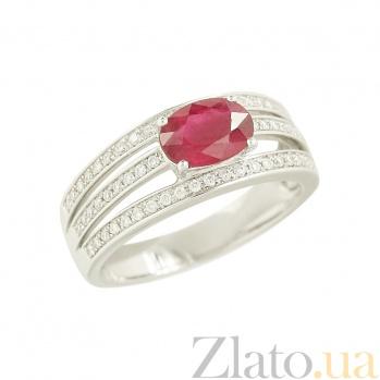 Золотое кольцо с рубином и бриллиантами Брусника 000026944
