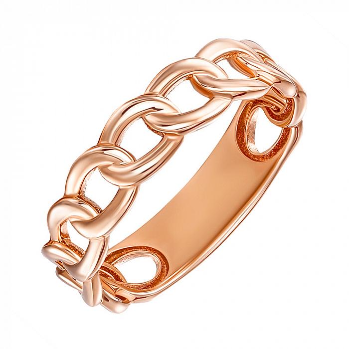 Кольцо из красного золота с имитацией плетения 000137428 000137428