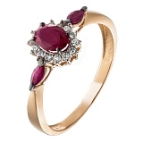 Золотое кольцо с рубинами и бриллиантами Аделаида