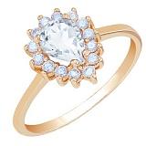 Золотое кольцо Фаина с кристаллом Swarovski и фианитами