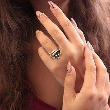 Серебряное кольцо Калла с позолотой и дорожкой белого циркония