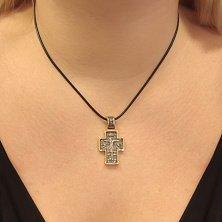 Серебряный крестик Чудотворный с позолотой