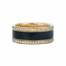 Золотое кольцо с бриллиантами и эмалью Фаэтон Черный ирис