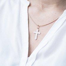 Крестик из красного золота Аммо с фианитами