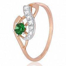Кольцо из серебра Гергана с позолотой и зеленым цирконием