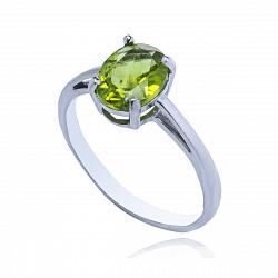 Серебряное кольцо Оливия с хризолитом и фианитами