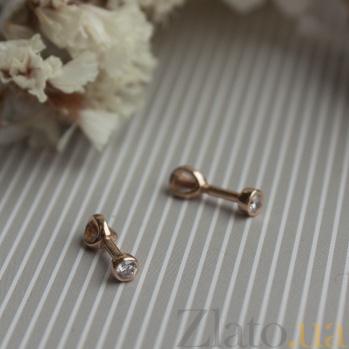 Серьги-пуссеты из красного золота Милая леди с бриллиантами TRF--212155н