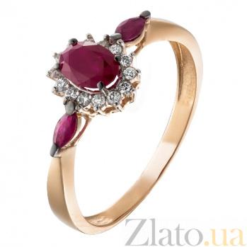 Золотое кольцо с рубинами и бриллиантами Аделаида KBL--К1836/крас/руб
