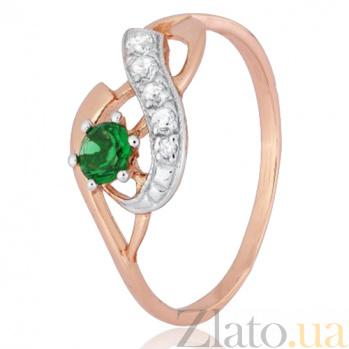 Кольцо из серебра Гергана с позолотой и зеленым цирконием 000028212