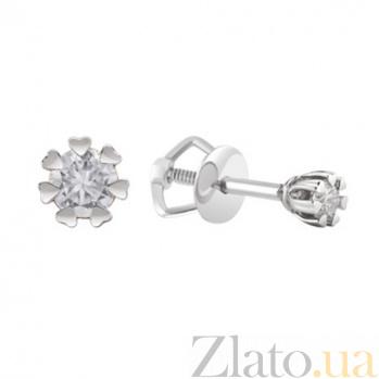 Золотые серьги с бриллиантами Лея KBL--С2548/бел/брил