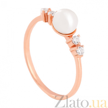Золотое кольцо с жемчугом и фианитами Героиня романа 000024357