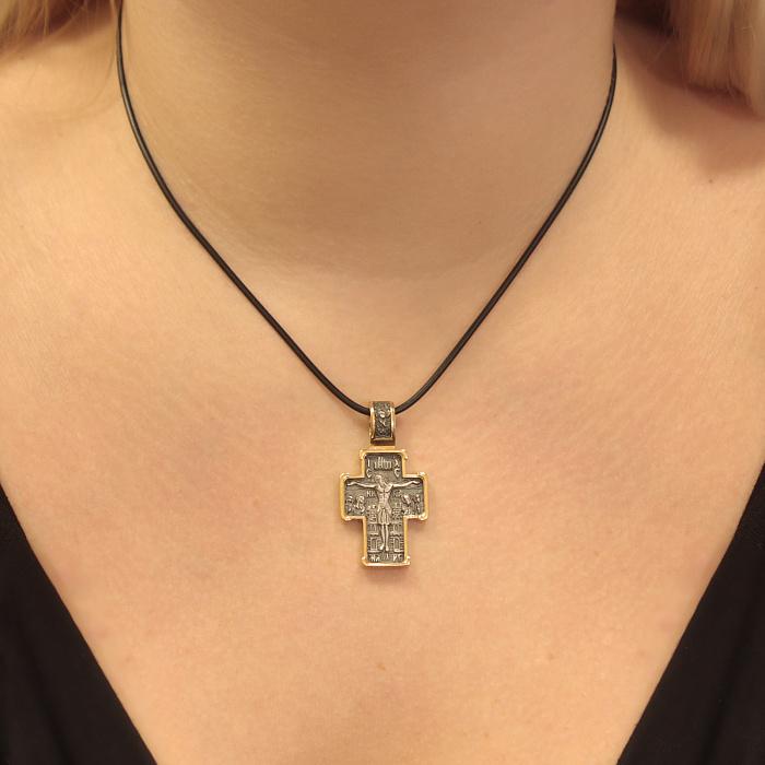Серебряный крестик Чудотворный с позолотой 000062558