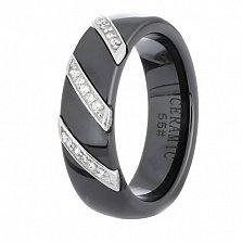 Черное керамическое кольцо Big City Life с серебром и фианитами