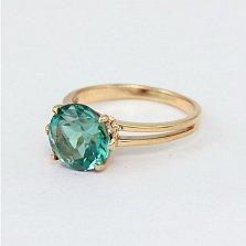 Золотое кольцо Лазурь с синтезированным аметистом