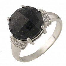 Серебряное кольцо Маркелла с черным авантюрином и фианитами