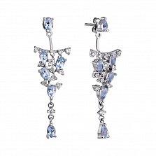 Серебряные серьги-джекеты Артемия с узорными подвесками, топазами и фианитами