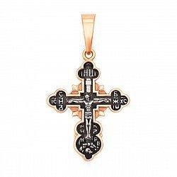 Серебряный православный крест с чернением и позолотой 000134160