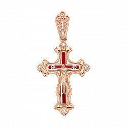 Православный крестик в комбинированном цвете золота с фианитами и красной эмалью 000136531