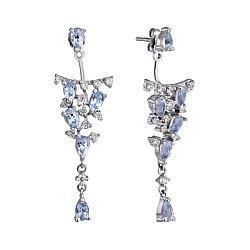 Срібні сережки-джекети з візерунковими підвісками, топазами і фіанітами 000098818
