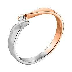 Золотое кольцо День-Ночь в комбинированном цвете с бриллиантом