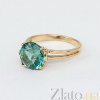 Золотое кольцо Лазурь с синтезированным аметистом 000024487
