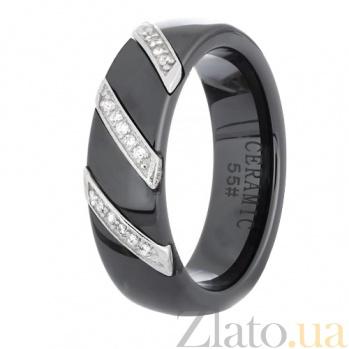 Черное керамическое кольцо Big City Life с серебром и фианитами 000030988