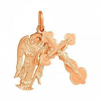 Серебряный крестик Ангел с позолотой 000025226