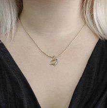 Золотой кулон-сердце Буква М в комбинированном цвете с фианитами