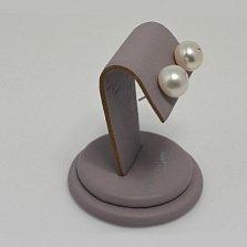 Серебряные пуссеты Сиси с белым жемчугом 10,5-11мм, инкрустированным кристаллами Swarovski
