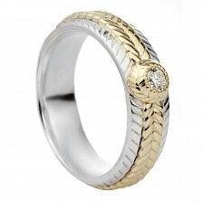 Серебряное кольцо Золотая коса с бриллиантом