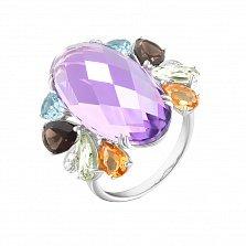 Золотое кольцо Фаворитка с аметистом и миксом драгоценных и полудрагоценных камней