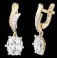 Позолоченные серебряные серьги с фианитами Дейана SLX--С3Ф/101
