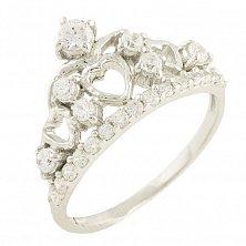Серебряное кольцо Королева любви с фианитами