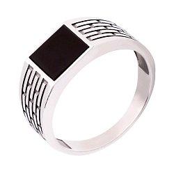 Серебряный перстень-печатка с черным ониксом 000116123
