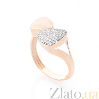 Золотое кольцо Волшебные треугольники с белыми фианитами 000082375