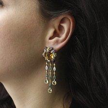 Золотые серьги-подвески Клеопатра с бриллиантами, сапфирами, цитрином и гранатами