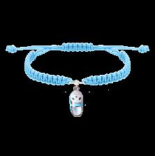 Детский плетеный браслет Тапочек с котенком с эмалью и фианитом, 10х20см