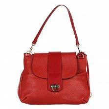 Кожаная сумка на каждый день Genuine Leather 8813 красного цвета на молнии под клапаном