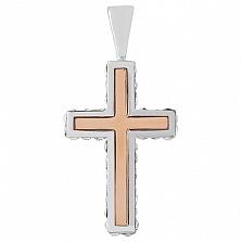 Серебряный крестик Небесная глазурь с золотыми вставками и кристаллами SWAROVSKI
