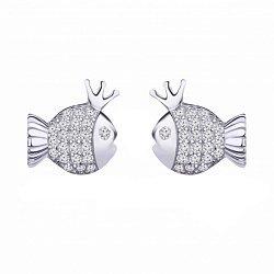 Серебряные серьги-пуссеты с фианитами 000100798