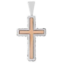 Серебряный крестик Небесная глазурь с золотыми вставками и кристаллами SWAROVSKI 000008266