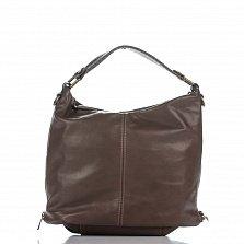 Кожаная сумка на каждый день Genuine Leather 1866-1 цвета глубокий тауп с молнией на торцах